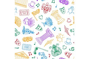 Vector seamless pattern or background illustration with doodle theatre elements