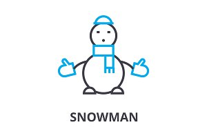 snowman thin line icon, sign, symbol, illustation, linear concept, vector