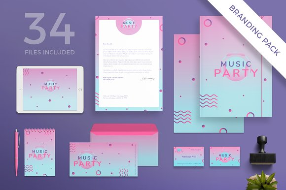 Branding Pack Pink Music Party