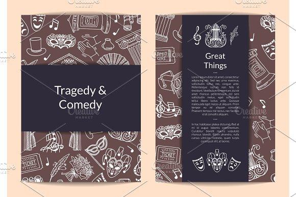 Vector Doodle Theatre Elements Card Flyer Or Brochure Template