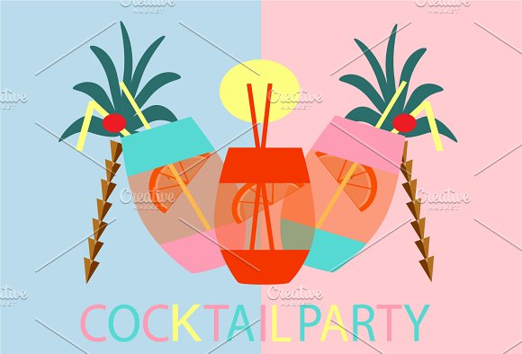 Cocktail Party Background With Palm