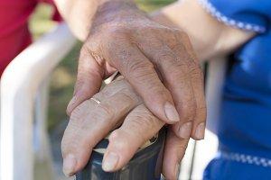 hands hugged by older people, senior