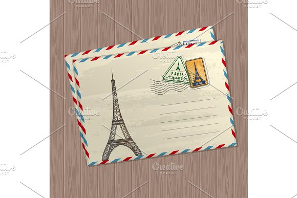 Vector Vintage Style Letters With Eiffel Tower