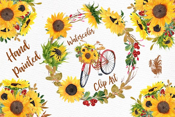 Floral Bicycle-Sunflower Clipart