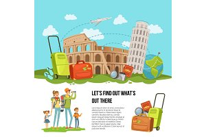 Vector concept illustration italian sights