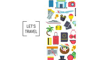 Vector flat travel elements background illustration with place for text
