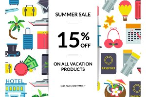Vector flat travel elements sale background illustration