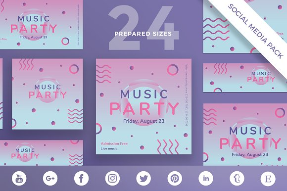 Social Media Pack Pink Music Party