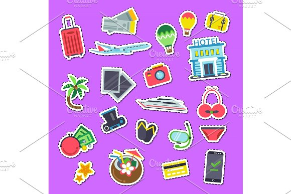 Vector Set Of Flat Travel Elements Stickers