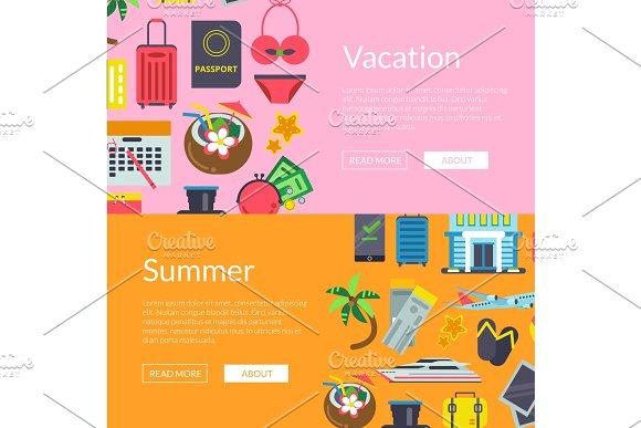 Vector Flat Travel Elements Banners Illustration