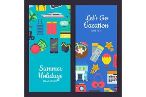 Vector flat travel elements banners illustration
