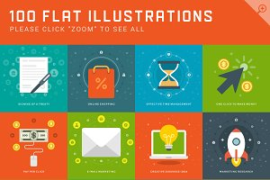 100 Flat illustrations