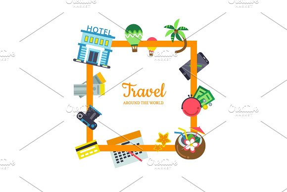 Vector Flat Travel Elements With Place For Text