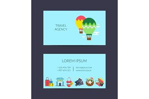 Vector flat travel elements business card template for travel agency