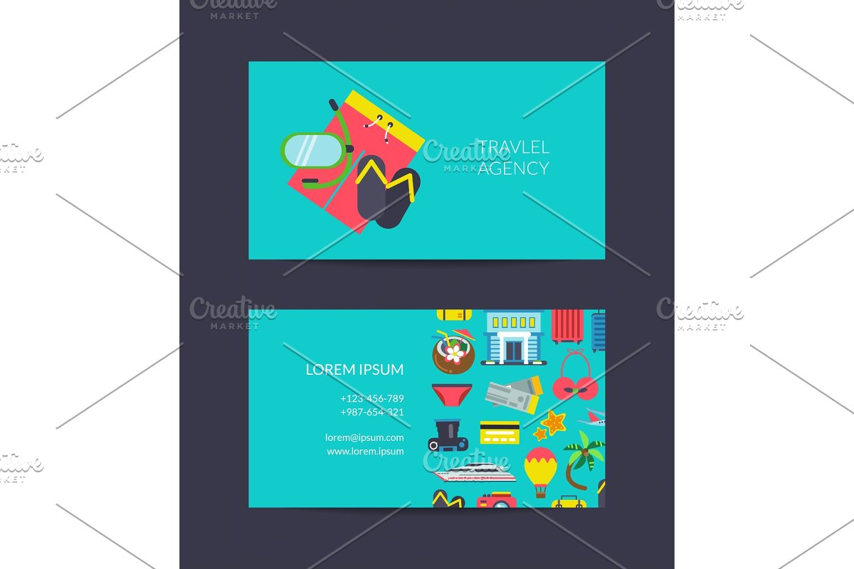 Vector travel business card template for travel agency