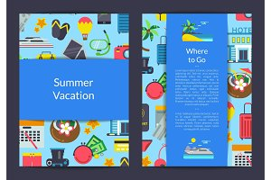 Vector flat travel elements card, flyer or brochure template for travel agency