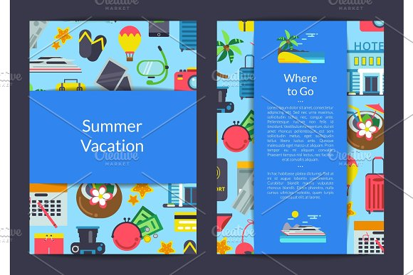 Vector Flat Travel Elements Card Flyer Or Brochure Template For Travel Agency