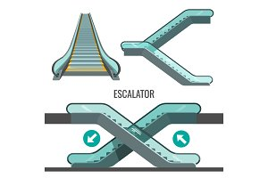 Escalator moving staircase with arrows showing way of movement