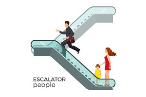 Escalator moving staircase consisting of endlessly circulating steps