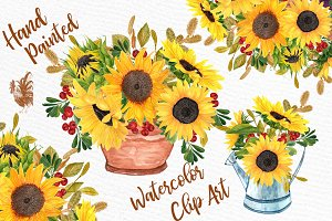 Watercolor Sunflower Bouquets