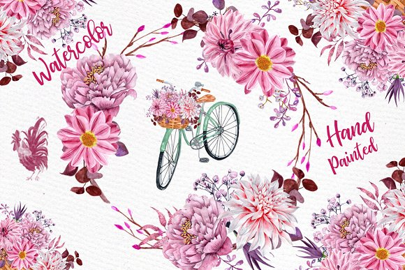 Pink Watercolor Flowers Clipart
