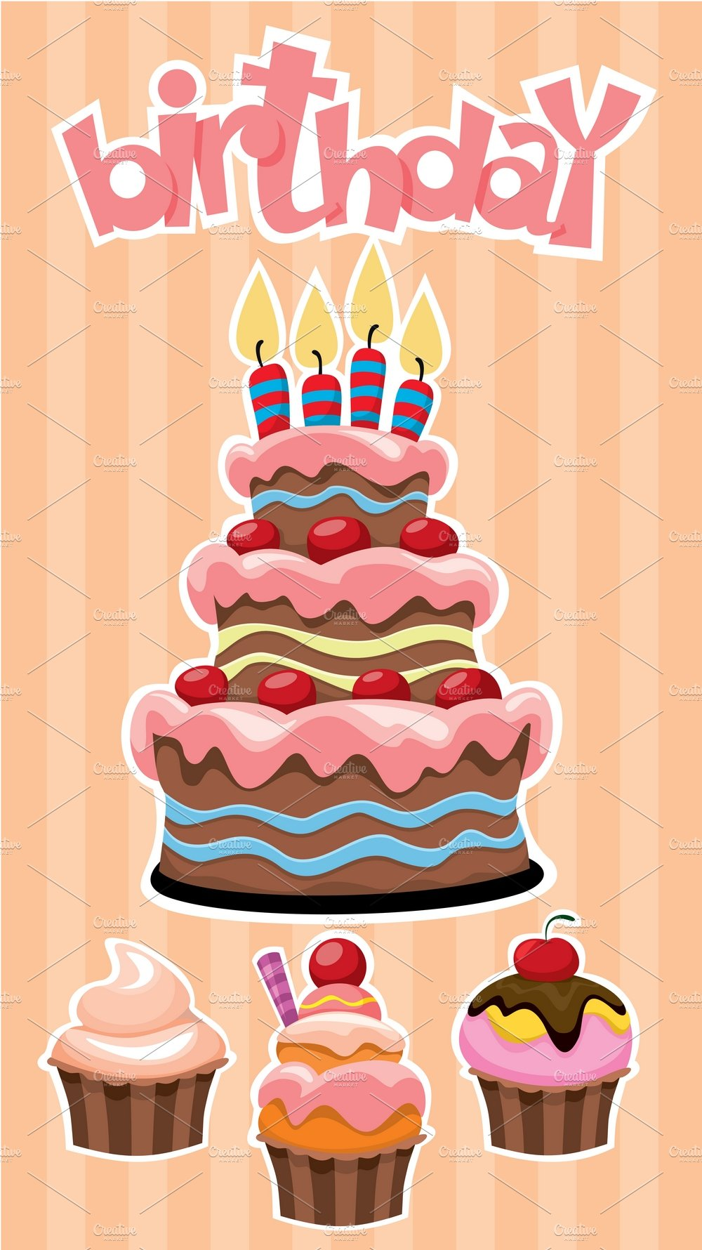 Colorful Birthday Desserts Template Illustrations Creative Market
