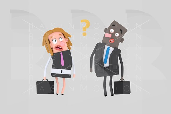 Worried Business Couple Thinking