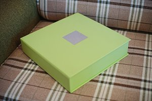 green leather wedding photo book