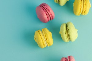 macarons on a blue background