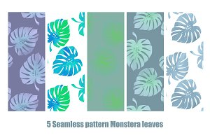 5 Seamless Monstera patterns