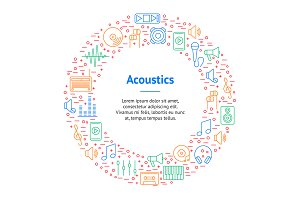 Acoustics and Sound Thin Line Set.