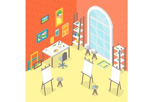 Artist Workplace Set Isometric View.