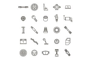 Car Parts Line Set. Vector
