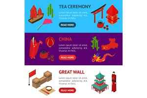 China Touristic Set Isometric View