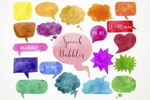 Watercolor Speech Bubbles Clipart