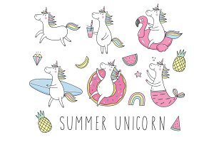 Summer unicorn, card, pattern