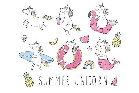 Summer Unicorn Card Pattern