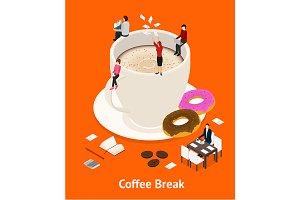 Coffee Break Concept 3d Isometric