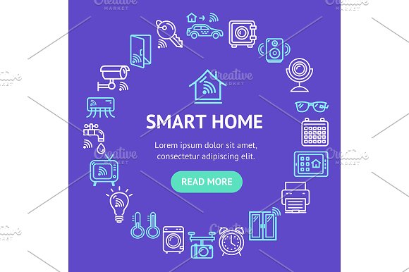 Smart Home Round Design Template
