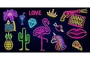 Set of neon signs. Flamingo, cactus