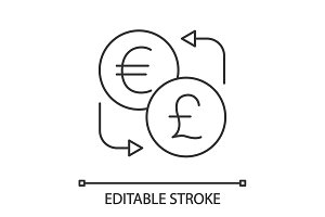 Euro and British pound currency exchange linear icon