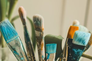 Colorful artistic brushes
