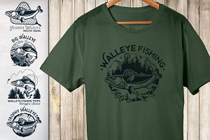 Walleye Vector Labels
