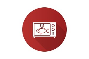 Fish in microwave oven flat design long shadow glyph icon
