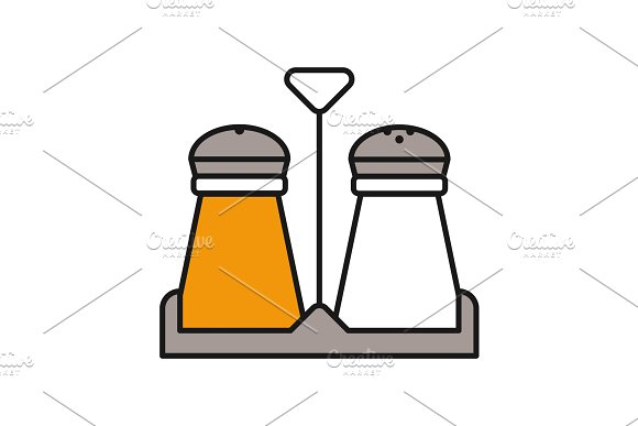 Salt And Pepper Shakers Color Icon