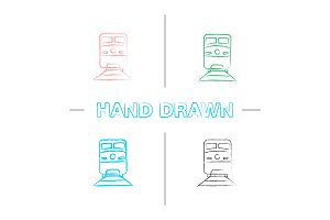Train hand drawn icons set