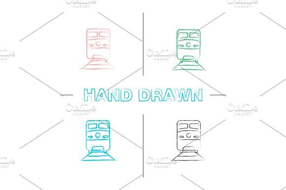 Train Hand Drawn Icons Set