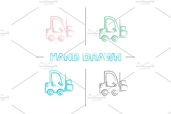 Forklift Hand Drawn Icons Set