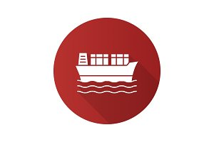 Cargo ship flat design long shadow glyph icon