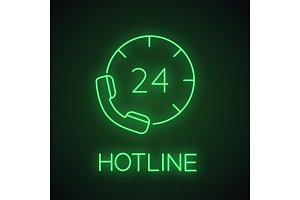 Hotline neon light icon